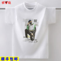 T-shirt White black Yalu 120cm 130cm 140cm 150cm 160cm 170cm currency summer Short sleeve Crew neck leisure time No model nothing cotton printing Cotton 100% YLWY2027 Class B hygroscopic and sweat releasing Summer 2021 Hot drilling thread