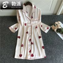 Nightdress Boipeei sexy Short skirt pajamas summer youth Shirt collar xW5o9S Summer 2020 Triacetate fiber (triacetate fiber) 100% Triacetate fiber (triacetate fiber) 100% 165(L) 170(XL) White love pink little love pink big love