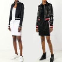 skirt Summer 2021 36#/S,38#/M,40#/L Black, white Short skirt motion Natural waist Solid color Type H 25-29 years old Other / other Pocket, bandage, zipper, print