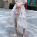 skirt Summer 2020 Average size White, apricot, black Mid length dress commute High waist Cake skirt Solid color Type A 18-24 years old Splicing