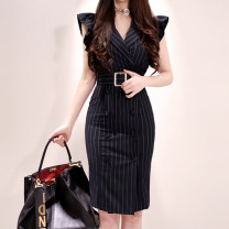 Dress Summer 2020 Black (belt) S,M,L,XL Miniskirt singleton  Sleeveless commute tailored collar middle-waisted stripe double-breasted One pace skirt other Others 18-24 years old Other / other Korean version 81% (inclusive) - 90% (inclusive) brocade nylon