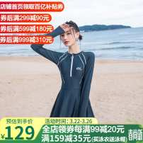 one piece  Changning XXL,M,L,XL Black, gray blue No steel support, no chest pad nylon female Long sleeves Competitive swimsuit