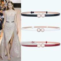 Belt / belt / chain Double skin leather Black, red, white female belt Sweet Single loop a hook Round buckle Patent leather 1.4cm alloy