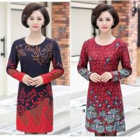 Middle aged and old women's wear Spring of 2019 Tibetan blue flower, big red flower, blue peacock flower, Dark Green Peacock flower, jujube red peacock flower L,XL,XXL,XXXL,4XL fashion Dress Straight cylinder singleton  Decor Socket moderate Crew neck Medium length routine Other / other Medium length