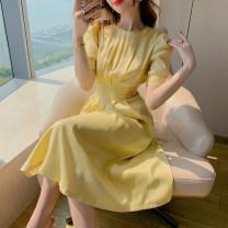 Dress Summer 2020 Eurya lemon yellow S,M,L longuette singleton  elbow sleeve commute Crew neck High waist Solid color zipper Big swing puff sleeve Others 25-29 years old Type A est  Korean version 20T6403