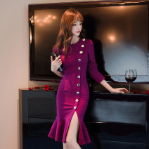 Dress Spring 2020 Purplish red, black S,M,L,XL Mid length dress singleton  Long sleeves commute Crew neck High waist Solid color zipper One pace skirt routine Others 25-29 years old Type H est  Korean version 51% (inclusive) - 70% (inclusive) knitting Cellulose acetate