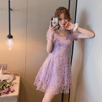 Dress Summer 2020 Jinxianzi S,M,L Short skirt singleton  elbow sleeve commute square neck High waist Solid color zipper A-line skirt puff sleeve Others 25-29 years old Type A est  Korean version 20T6569