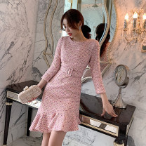 Dress Spring 2020 S,M,L Mid length dress singleton  Long sleeves commute Crew neck High waist Decor zipper One pace skirt routine Others 25-29 years old Type H est  Korean version More than 95%