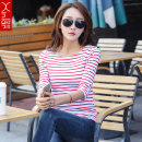 T-shirt Spring of 2019 three quarter sleeve One word collar Self cultivation Regular routine commute cotton 86% (inclusive) -95% (inclusive) 18-24 years old Korean version other Thin horizontal stripe