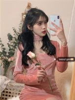 Dress Winter 2020 Pink S,M,L 6061# 81% (inclusive) - 90% (inclusive)