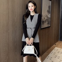Dress Autumn 2020 Black, red Average size longuette Two piece set Long sleeves commute Crew neck middle-waisted lattice Socket A-line skirt routine Type A Splicing