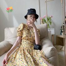 Dress Summer 2021 yellow S,M,L Mid length dress singleton  Short sleeve Sweet Doll Collar High waist Decor Big swing puff sleeve 25-29 years old Bandage