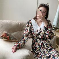 Dress Spring 2021 black S,M,L Middle-skirt singleton  Long sleeves Doll Collar High waist Decor 25-29 years old
