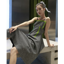 Dress Autumn 2020 grey S,M,L Mid length dress Fake two pieces Sleeveless street One word collar High waist Socket Irregular skirt camisole 18-24 years old Type A JNYLONSTUDIOS L911 31% (inclusive) - 50% (inclusive) Wool wool Europe and America