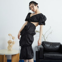 Dress Spring 2021 black S,M,L longuette singleton  Short sleeve street Slant collar High waist Decor Socket Irregular skirt puff sleeve Oblique shoulder 18-24 years old Type H JNYLONSTUDIOS Hollowing, pleating, open back, chain, pleating, splicing, asymmetry, bandage, nail bead Q932 More than 95%