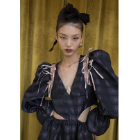 Dress Autumn 2020 Decor S,M,L Mid length dress singleton  Long sleeves commute V-neck Elastic waist Decor Socket puff sleeve 18-24 years old Type X JNYLONSTUDIOS Lace up, printed L902 polyester fiber