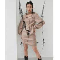 Dress Winter 2020 Camel S,M,L Short skirt singleton  Long sleeves street High waist Solid color Socket A-line skirt routine Others 25-29 years old Type X JNYLONSTUDIOS Hollowed out, embroidered, lace up, button, zipper L914 polyester fiber Europe and America