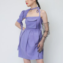 Dress Summer of 2019 violet S,M,L Short skirt singleton  street One word collar middle-waisted Solid color Pleated skirt Others 18-24 years old Type X JNYLONSTUDIOS Bowknot, tuck, pocket, lace up, asymmetry, bandage Q242 Europe and America