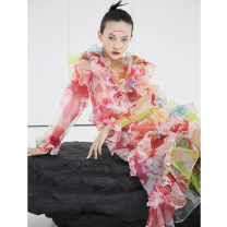 Dress Winter of 2019 Decor S,M,L Mid length dress singleton  Long sleeves street V-neck Big flower Socket A-line skirt routine 18-24 years old Type A JNYLONSTUDIOS Ruffles, lace up, print Q257 More than 95% organza  polyester fiber Europe and America