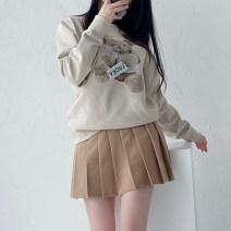 skirt Autumn of 2019 XS,S,M,L,XL,2XL,3XL,4XL,5XL Camel, Khaki Short skirt Versatile High waist Pleated skirt Solid color Type A 51% (inclusive) - 70% (inclusive) other cotton Button, zipper