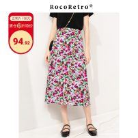 skirt Spring 2020 S,M,L Pink flower on white background Mid length dress commute High waist A-line skirt Decor Type A 25-29 years old RRW2037010 More than 95% Crepe de Chine ROCO RETRO polyester fiber Retro