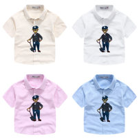 shirt White, pink, yellow, blue Other / other male 100cm,110cm,120cm,130cm,140cm summer Short sleeve leisure time Cartoon animation cotton Lapel and pointed collar Cotton 95% other 5% Class B