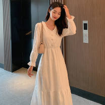 Dress Spring 2021 Black, white, red S [80-90], m [95-105], l [105-120], XL [120-130], 2XL [130-140] Mid length dress Long sleeves commute V-neck Socket Type A Other / other 51% (inclusive) - 70% (inclusive)