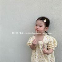 Dress female Other / other 80cm,90cm,100cm,110cm,120cm,130cm Cotton 100% summer Korean version Short sleeve Broken flowers cotton Fluffy skirt 7 years old, 3 years old, 6 years old, 18 months old, 2 years old, 5 years old, 4 years old Chinese Mainland
