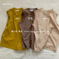 Vest sling Yellow, apricot, light coffee I-shaped 80,90,100,110,120,130 summer other Solid color Crew neck 18 months, 2 years old, 3 years old, 4 years old, 5 years old, 6 years old, 7 years old