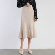skirt Spring 2021 S,M,L,XL Apricot, blue, black Mid length dress sexy High waist skirt Solid color Type A