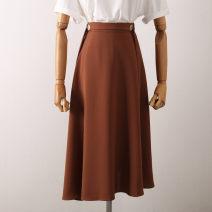 skirt Spring 2021 S,M,L Yellow, black, orange Mid length dress Versatile Natural waist Irregular Solid color Type A