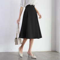 skirt Autumn 2020 S,M,L,XL Apricot, dark grey, black Mid length dress Versatile High waist Umbrella skirt Solid color Type A 25-29 years old