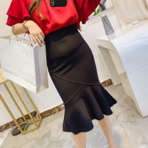 skirt Autumn 2020 Average size black Mid length dress commute High waist Ruffle Skirt Solid color Type A 25-29 years old 30% and below cotton Wave, three-dimensional decoration, asymmetry, ruffle Korean version