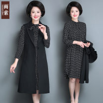 Middle aged and old women's wear Spring 2021 black XL, 2XL, 3XL, 4XL, 5XL, respectively fashion Dress easy Two piece set Solid color 40-49 years old Socket thin square neck Medium length routine YSSBM85-9006 Rain rope Bandage polyester 96% and above A button Medium length Polyester Pleated skirt