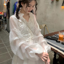 Dress Spring 2020 S,M,L Short skirt Two piece set Long sleeves Sweet V-neck High waist Solid color other Princess Dress puff sleeve Type A princess