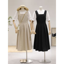 Dress Summer 2021 Black, Khaki S, M Short skirt Two piece set Short sleeve commute Crew neck High waist Solid color Socket Pleated skirt puff sleeve 25-29 years old Type A Korean version Bows, tucks, pockets 3072# 81% (inclusive) - 90% (inclusive)