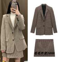 short coat Winter 2020 XS,S,M,L Jacket, skirt Long sleeves routine street Polo collar Single row two buttons lattice TRAF