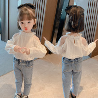 shirt White, Kitty jeans, shirt + jeans Other / other female 90cm,100cm,110cm,120cm,130cm spring and autumn Long sleeves Korean version Solid color cotton stand collar Other 100% Olive spring off shoulder lace shirt
