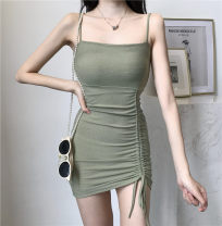 Dress Summer 2020 Green, blue, black Average size Mid length dress singleton  Sleeveless commute One word collar High waist Solid color Socket A-line skirt routine camisole 18-24 years old Type A Korean version Pleated, open back
