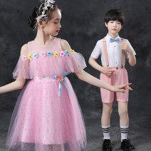 Children's performance clothes Women's pink with headdress men's Pink five piece set female 100cm 110cm 120cm 130cm 140cm 150cm 160cm 170cm To be happy Class B LPPZR-2021-002 Other 100% Summer 2021