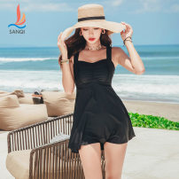 one piece  SANQI M,L,XL,XXL black Skirt one piece With chest pad without steel support Nylon, polyester female Sleeveless Casual swimsuit Solid color backless