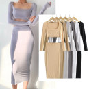 Dress Summer 2021 White, light gray, dark gray, black, khaki, apricot S, M longuette Two piece set Long sleeves commute square neck High waist Solid color Socket One pace skirt routine Others 25-29 years old Type A Simplicity 81% (inclusive) - 90% (inclusive) brocade cotton