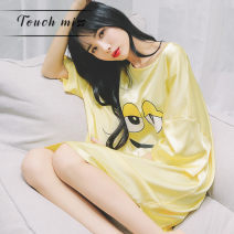 Nightdress Touch miss Yellow, aqua, pink Average, M sexy Middle sleeve pajamas Middle-skirt summer Cartoon animation Crew neck Iced silk One piece More than 95% other T210227003S 260g