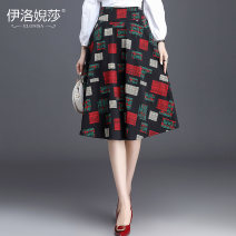 skirt Autumn of 2019 S,M,L,XL,2XL,3XL,4XL Black Square Mid length dress grace High waist Fluffy skirt lattice Type A 25-29 years old brocade Elossa 351g / m ^ 2 (including) - 400g / m ^ 2 (including)