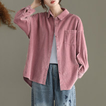 short coat Autumn 2020 Average size Long sleeves routine singleton  easy routine Polo collar Single breasted Solid color 96% and above cotton