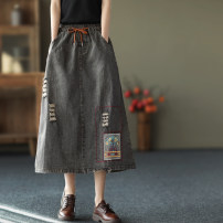 skirt Spring 2021 Average size Charcoal grey, washed blue Mid length dress commute A-line skirt Solid color Type A QZ9213 More than 95% Denim cotton pocket
