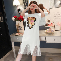 Dress Other / other Black, white, pink M,L,XL,XXL Korean version Short sleeve have more cash than can be accounted for summer Crew neck Animal design Pure cotton (95% and above)