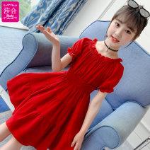 Dress 185a red 185a purple 181a red female Shahe 110cm 120cm 130cm 140cm 150cm 160cm Polyester 100% summer Korean version Short sleeve Solid color Chiffon A-line skirt KA-185A Class B Summer 2021 Chinese Mainland