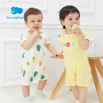 Jumpsuit / climbing suit / Khaki Les enfants Class A currency Orange, white, yellow 73cm,80cm,59cm,66cm Pure cotton (100% content) summer Short sleeve Short climb leisure time nothing Cotton 100% Single breasted slant placket A2E2000302 A2E2000302 3 months, 6 months, 12 months, 9 months