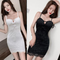 Dress Spring 2020 S,M,L Short skirt singleton  Sleeveless Sweet V-neck middle-waisted Solid color Socket Princess Dress other camisole 18-24 years old Type H Hollowed out, open back, lace 51% (inclusive) - 70% (inclusive) Lace polyester fiber princess